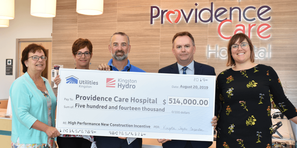 Utilities Kingston Cheque Presentation - Providence Care Hospital is committed to being environmentally responsible and energy efficient.